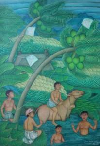 ラバ「子供の情景」 アクリル/キャンバス 70㎝×50㎝