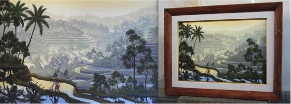 ガルー「早暁の静謐」油彩/キャンバス、作品サイズ40cm×60cm ニャント材のシンプルな木製額縁に入れてお届けします。(販売価格:500,000円税込み)