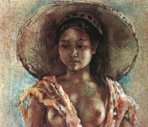 ウィレム・ジェラルド・ホフカー「グスティ・マデ・トゥウィ嬢の肖像Ⅱ」(1943)