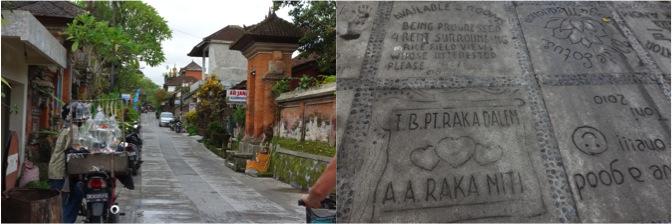 ジャラン・カジェンの風情ある街並みと石畳に刻まれたメッセージ
