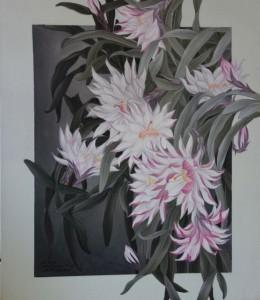 冒頭のモダンな作品と同じ花だが、受ける印象が全く異なる。