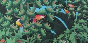 中央の赤い鮮やかな鳥が奥様、右の小さな2羽が子供たち(M様談)