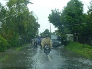 庶民の足バイク。雨が降ろうがたくましいこと