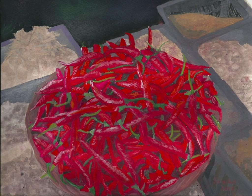 一気に熱くなってきたでしょ?!  バリ島では料理にとうがらしをふんだんに使います。市場でもほら、こんな大ザルにこんもり。