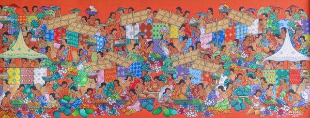 ソキさんはウブドの市場をこんなふうに描いています。明るい賑わいが伝わってきますね。