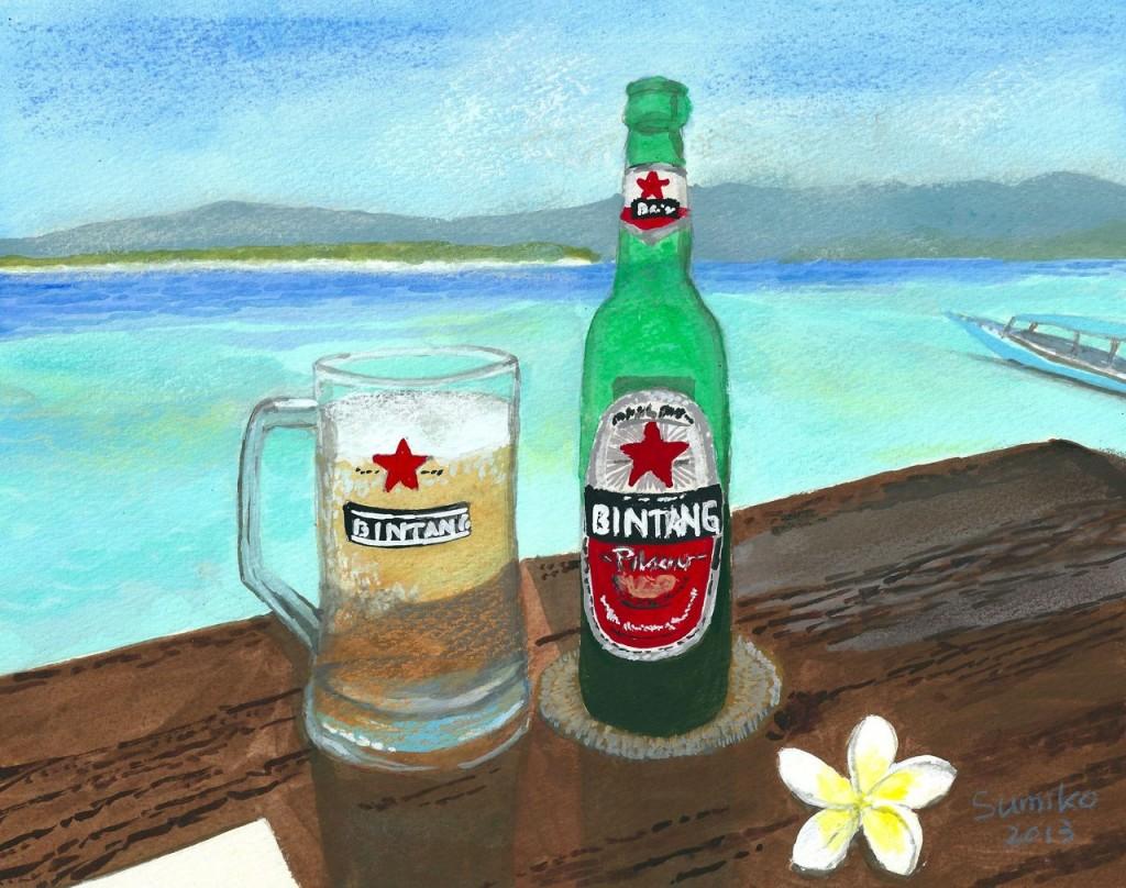 最後はあなたもきっと大好きなビンタンビールと青い海。