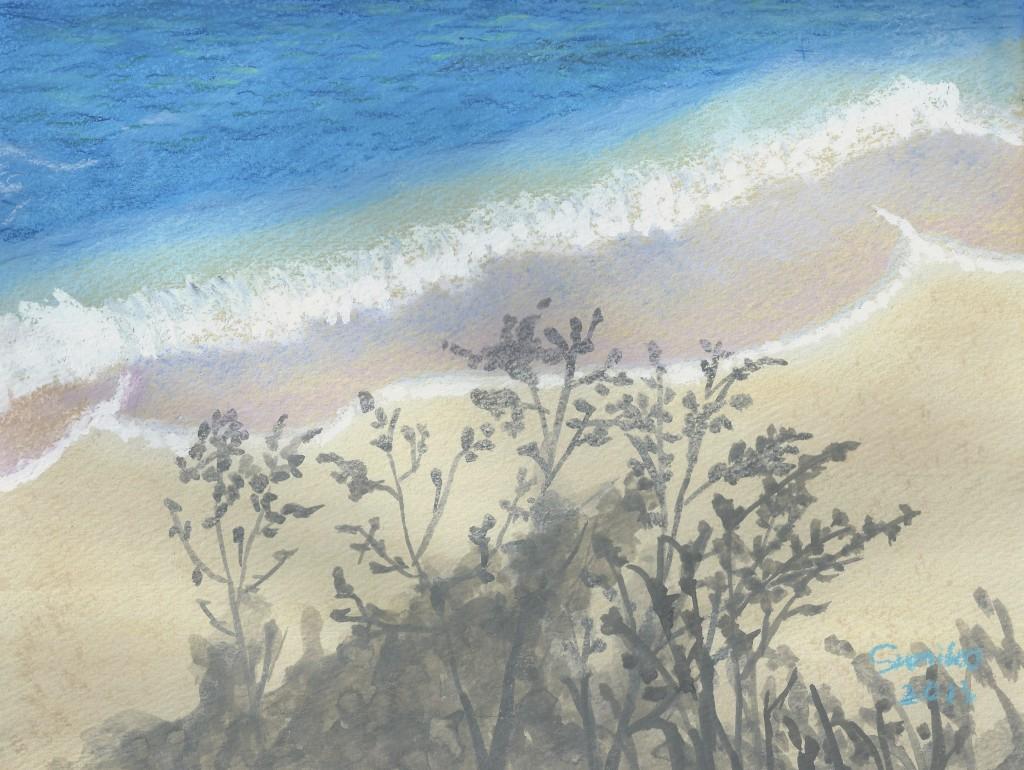 そろそろ海が見たくなってきましたね。波打ち際に戯れる影