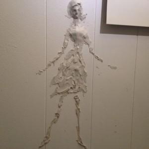大雨でお客さんが来なかった時、ひっつき虫で壁に描いた絵