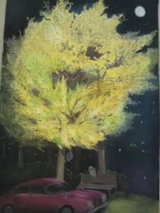「月夜のミモザ」2010年 パステル