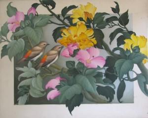 『八重咲きのハイビスカスと野鳥』RAJIG