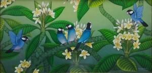 『5羽の文鳥』RAKA 40x80cm