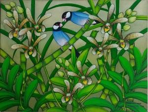 『恋する文鳥たち II』RAKA 30x40cm