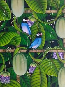 『恋する文鳥たちIII』RAKA 40x30cm