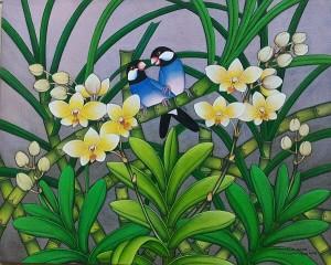 『恋する文鳥たち IV』RAKA 40x50cm