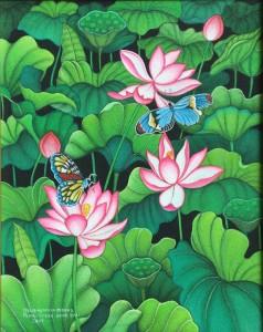 『蓮池を舞う蝶』ARSANA 50x40cm