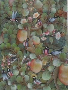 『実りの木Ⅱ』Dewa Putu Budi 80x60cm やさしい淡い色調に思わず心も和みます