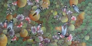 『実りの木』Dewa Putu Budi 40x80cm ソファの横など飾りやすいと人気の横長サイズ。