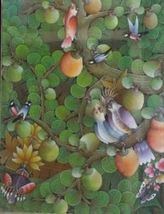 『実りの木Ⅲ』Dewa Putu Budi 90x70cm おいしそうに実ったフルーツに鳥たちも集まってきました
