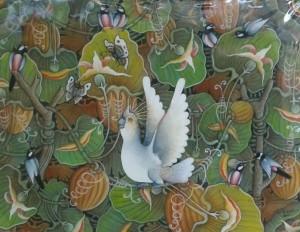 『実りの木』Dewa Putu Budi 70x90cm  オウム、南国の花々、蝶。 お部屋に明るく南国の風が吹いてきそう